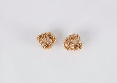 Clips d'oreilles en fils d'or 18K (750) entrecroisés,...