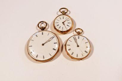 Lot composé de 3 montres de poche en or 18K...