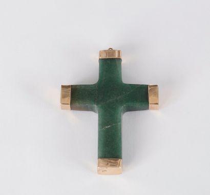 Croix en quartz aventuriné vert monté en...