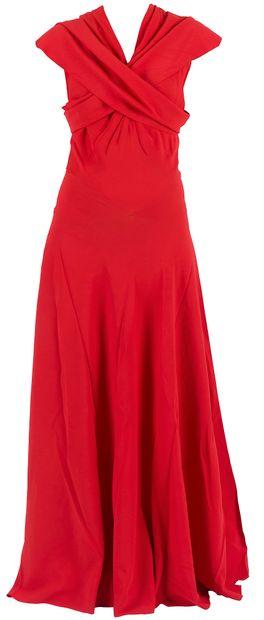 Madeleine VIONNET  Robe longue en crêpe rouge avec son dessous en soie rose, griffé...