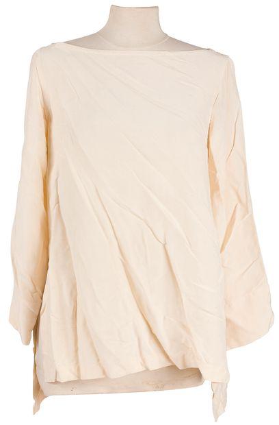 Yves Saint Laurent Rive Gauche  1 longue tunique en soie sauvage de couleur écru,...