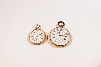 Lot composé de deux montres de poche en or 18K (750), cadran en émail blanc, mouvement...