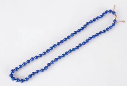Collier de billes de lapis-lazuli, fermoir...