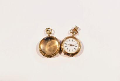 Lot composé d'une montre de col en or 18K...