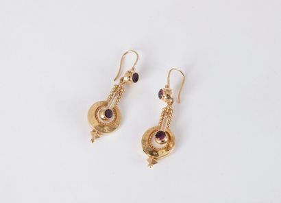 Paire de pendants d'oreilles en or 18K (750)...