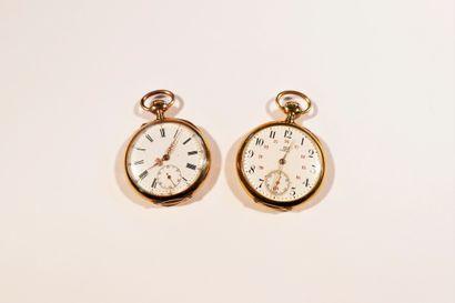 Lot composé de 2 montres de poche, une Oméga...