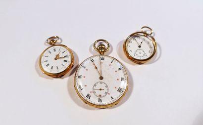 Lot composé de 3 montres de poche en or 8K (750), mouvement à cylindre ou à remontoir....