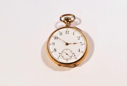 Montre de poche en or 18K (750) cadran en émail blanc, trotteuse à 6H, mouvement...