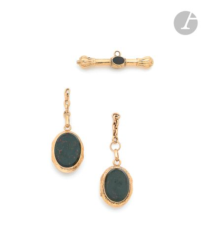 Suite of two 18K (750 ‰) gold medallions,...