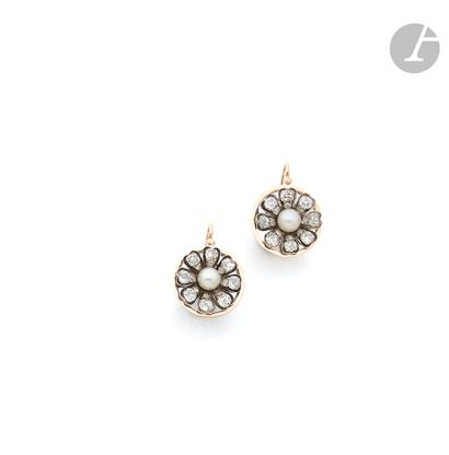 Pair of silver and gold 14K (585) sleeper...