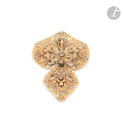 Bipartite 18K (750 ‰) gold pendant, openwork...