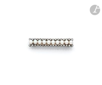 Silver and 18K gold (750 ‰) barrette brooch,...