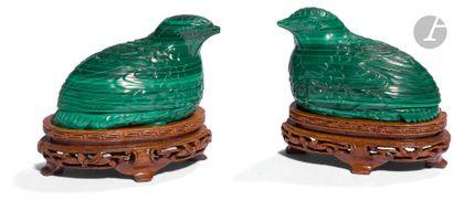 CHINE - XXe siècle Paire de petites boîtes...