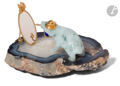 Ours au miroir Plateau en agate reposant...