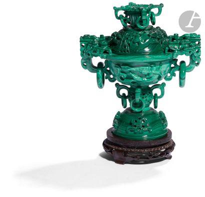 CHINE - XXe siècle Brûle-parfum en malachite...