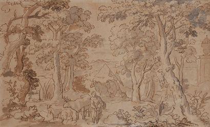 ÉCOLE Flamande vers 1700  Berger et bergère conduisant un troupeau dans un sous-bois...