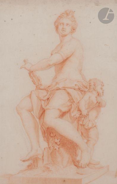 ÉCOLE FLAMANDE du XVIIIe siècle  Feuille d'étude d'après une sculpture de Nicolas...