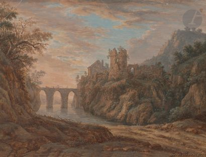 Jakob BURGI (Suisse 1745 - vers 1795)  Paysage au pont  Gouache.  Signée en bas...