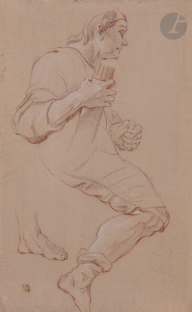 Jean-François de TROY (Paris 1679 - Rome 1752)  Étude de cavalier pour le Triomphe...