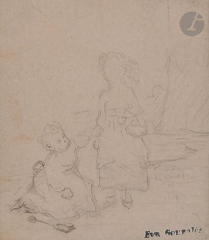 Éva GONZALES (Paris 1849 - 1883)  Trois feuilles...