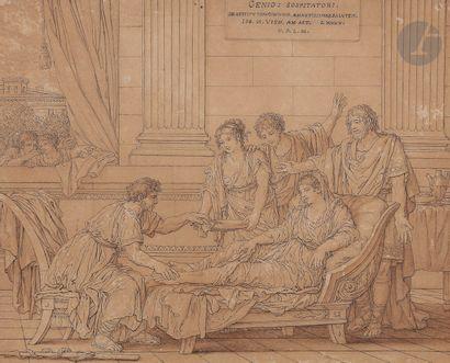 Joseph Marie VIEN (Montpellier 1716 - Paris 1809)  Genio Sospitatori : femme soignée...