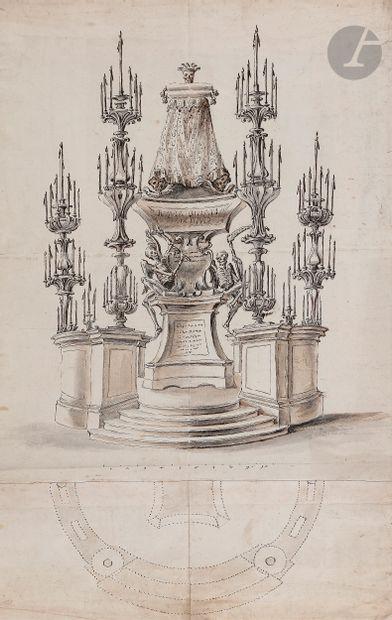 ÉCOLE ITALIENNE vers 1700  Projet de catafalque aux squelettes  Plume et encre brune,...