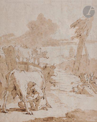 ÉCOLE de TIEPOLO (Venise 1727 - 1804)  La Traite de la vache  Plume et encre brune...