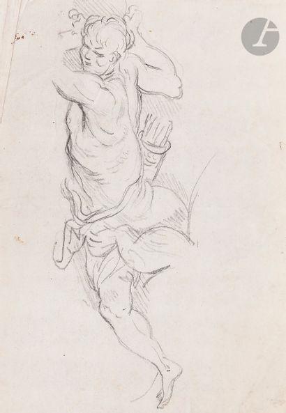 ÉCOLE FRANÇAISE du XVIIe siècle  Homme au carquois  Pierre noire.  (Pliures et rousseurs)....