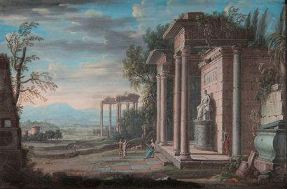 ÉCOLE FRANÇAISE du XVIIe siècle  Ruines animées...