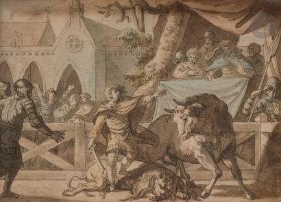 Pierre-Antoine MONGIN (Paris 1761 - Versailles 1827)  Scène de jeux au Moyen-Âge...