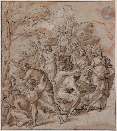 Giuseppe PASSERI (Rome 1654 - 1714)  La Multiplication des pains et étude de main...