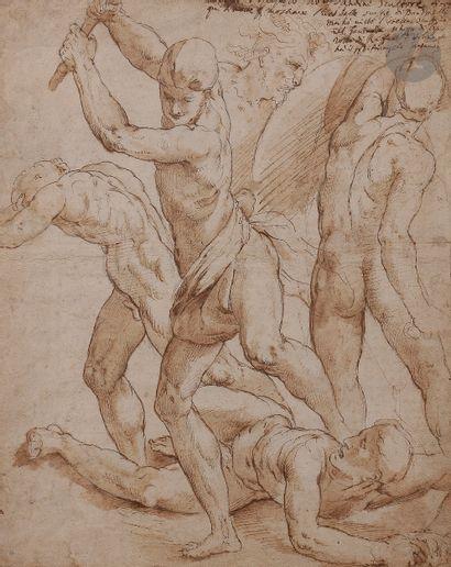 ÉCOLE ITALIENNE du XVIe siècle d'après Raphaël  Scène de combat avec cinq figures,...