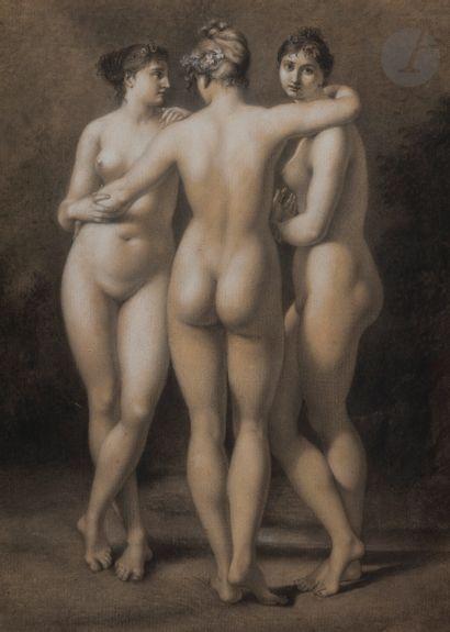Baron Jean-Baptiste REGNAULT (Paris 1754 - 1829)  Les Trois Grâces  Pierre noire,...