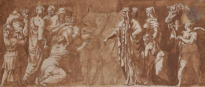 ÉCOLE ITALIENNE de la fin du XVIe siècle  L'Offrande à Niobé, épisode de l'histoire...
