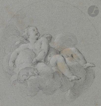 ÉCOLE FRANÇAISE du XVIIIe siècle  Amour sur un nuage  Crayon noir et craie blanche...