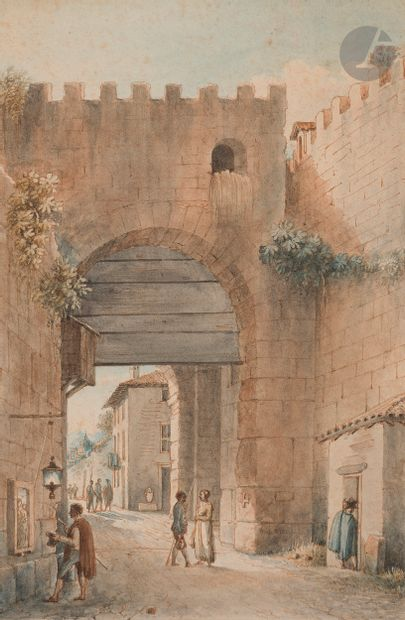 Victor-Jean NICOLLE (Paris 1754 - 1826)  Oratoire sur la voie Osti à Rome - Vue...