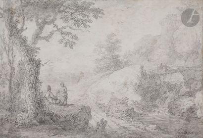 Simon Mathurin LANTARA (Oncy-sur-École 1729 - Paris 1778)  Paire de paysages animés...