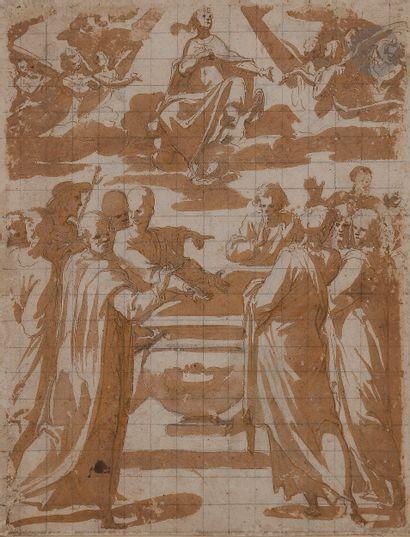 ÉCOLE TOSCANE vers 1600 attribué à Giovanni Guerra (Rome 1544 - 1618)  L'Assomption...