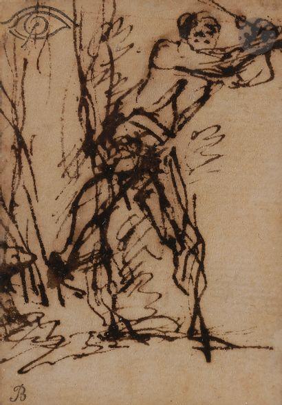Salvator ROSA (Naples 1615 - Rome 1673)  Études de bûcheron (double face)  Plume...