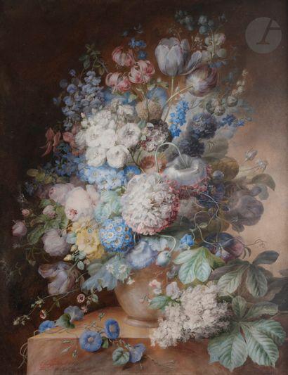 Olympe ARSON (1814 - ?)  Vase de fleurs sur...