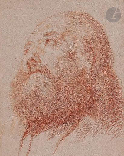 ÉCOLE ITALIENNE vers 1700  Tête d'homme barbu...