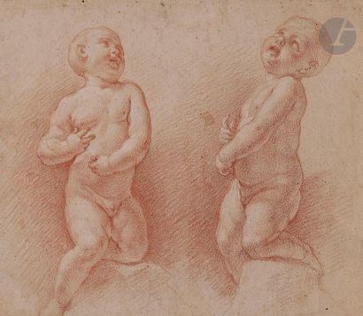 ÉCOLE FRANÇAISE du XVIIe siècle  Deux études d'enfants nus  Sanguine sur papier...