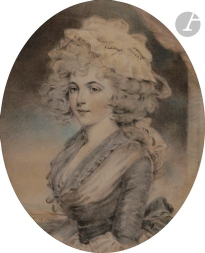 John DOWNMAN (Royaume-Uni 1750 - 1824)  Paire de portraits de femme l'un de profil...