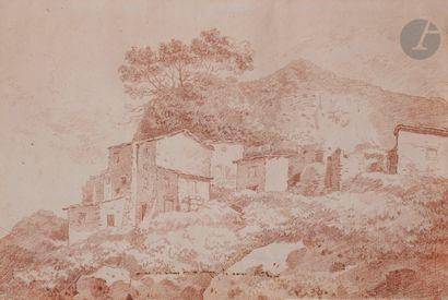 ÉCOLE FRANÇAISE du XVIIIe siècle  Paysage d'Italie  Sanguine.  Porte des inscriptions...