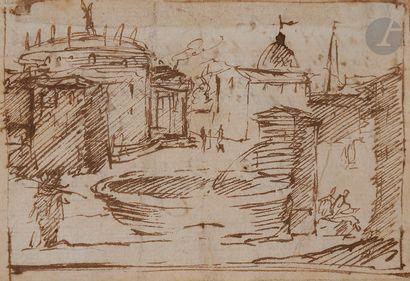 ÉCOLE ITALIENNE du XVIIe siècle  Vue d'une place italienne avec une fontaine  Plume...