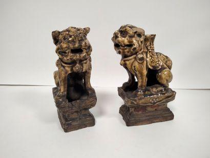 CHINE, XIXe siècle Paire de statuettes de...