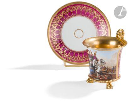 Combat entre des dragons français et des cosaques Tasse évasée en porcelaine de...