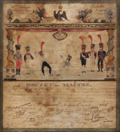 Brevet de maître du 39e régiment d'infanterie de ligne Dessin rehaussé d'aquarelle...