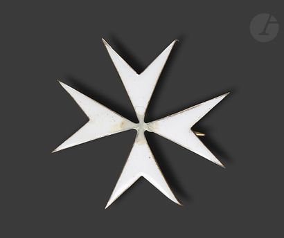 RUSSIE Croix de Malte en vermeil émaillé...