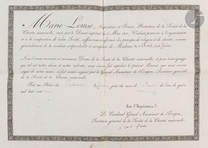 Rare brevet de dame de la Société de la Charité...